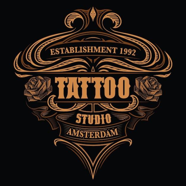 Scritte colorate vintage per lo studio del tatuaggio sullo sfondo scuro. tutti gli articoli sono in gruppi separati Vettore Premium