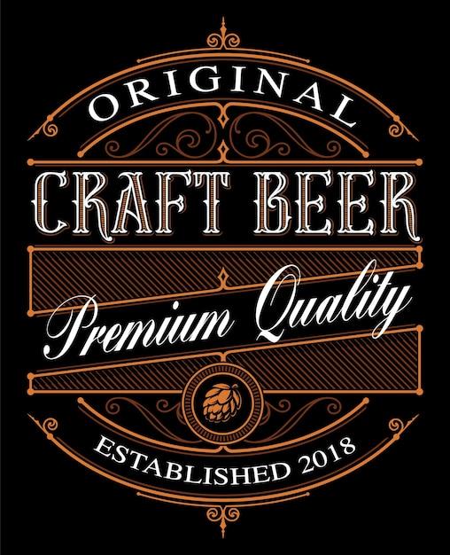 Modello di etichetta di birra artigianale vintage sullo sfondo scuro. Vettore Premium