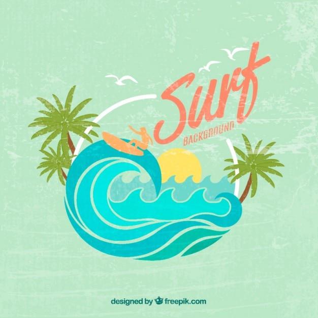Vintage sfondo carino di surf Vettore Premium