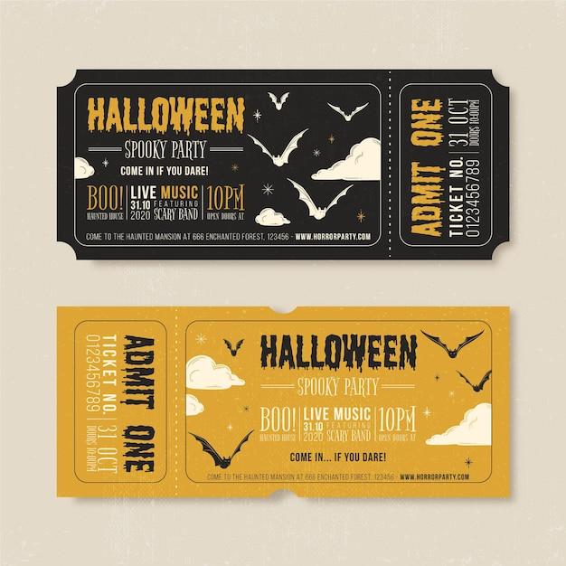 Biglietti di halloween di design vintage Vettore Premium