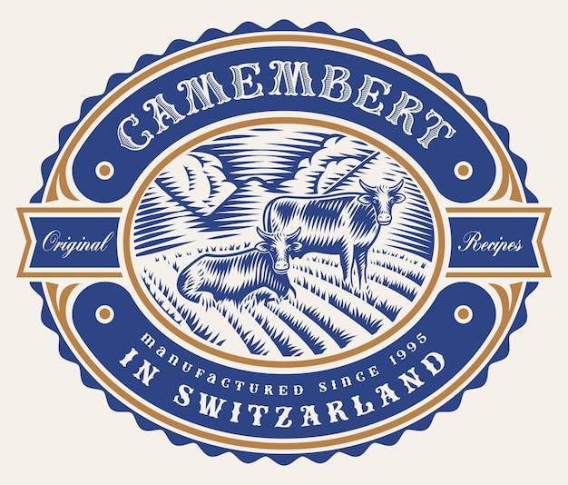 Un'etichetta di formaggio modificabile vintage Vettore Premium