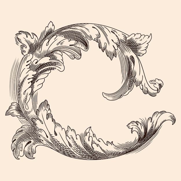 Ornamento floreale vintage nel vecchio stile classico per la stampa e il web design. Vettore Premium