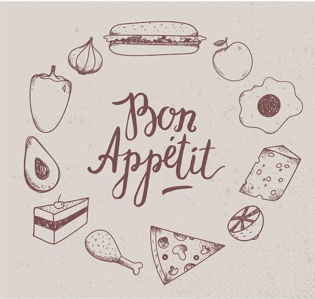 Illustrazione di cibo vintage. disegnato a mano. illustrazione incisa per ristorante, bar. Vettore Premium