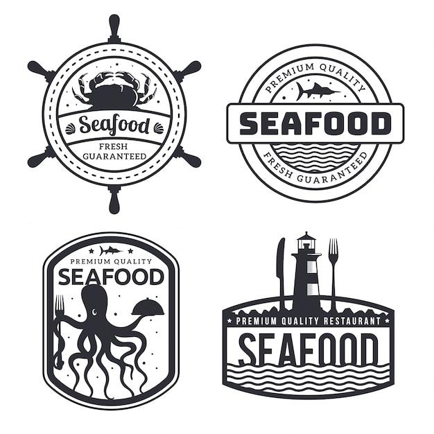 Illustrazione monotona fresca d'annata del distintivo di logo del ristorante dei frutti di mare Vettore Premium