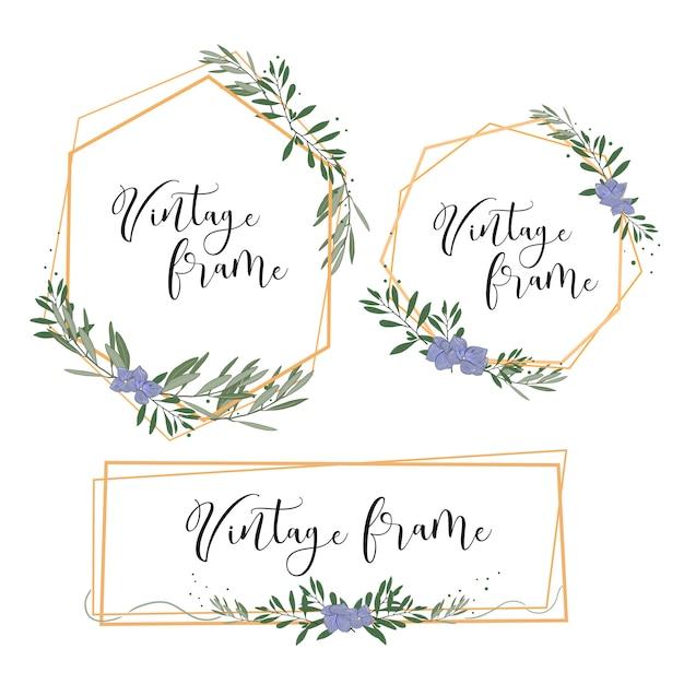 Cornice in oro vintage con foglie e fiori per invito a nozze, carta, ecc Vettore Premium