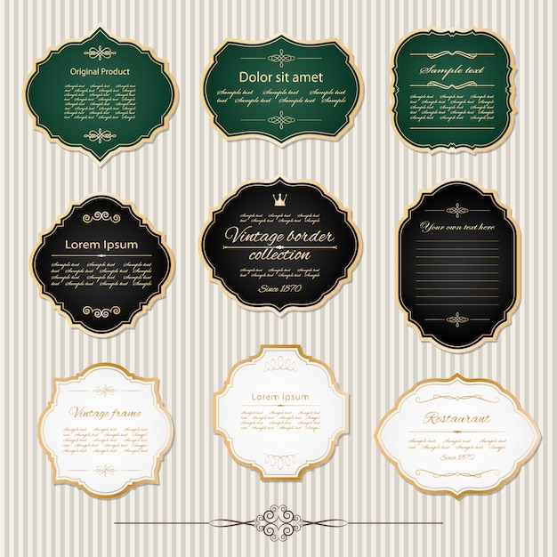 Cornici dorate vintage e set di etichette. Vettore Premium