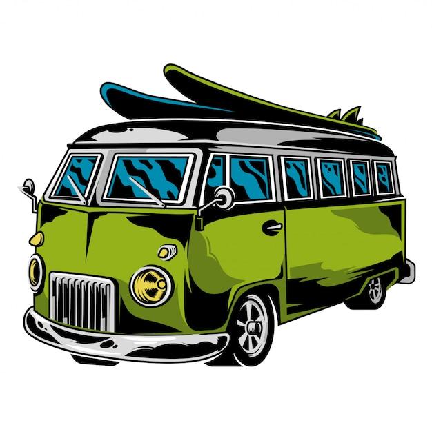 Auto grafica vintage vecchia scuola per la libertà che viaggia sulla spiaggia surf stile di vita campeggio fuori illustrazione retrò personalizzata auto disegno hippie illustrazione per stampa maglietta vestiti logo icona poster adesivo Vettore Premium