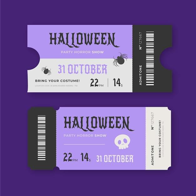 Biglietti di halloween vintage Vettore Premium