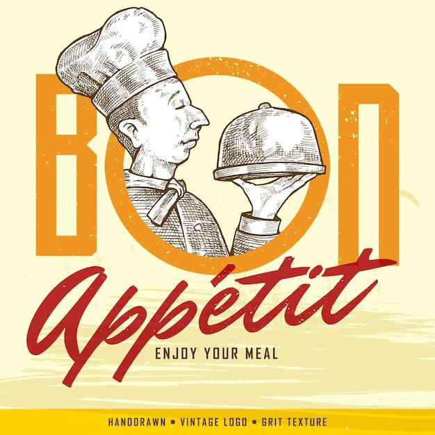 Vintage hand-drawn chef tiene un vassoio e appetito bon (enjoy your pasta) segno. bandiera classica o etichetta per ristoranti e caffè. Vettore Premium