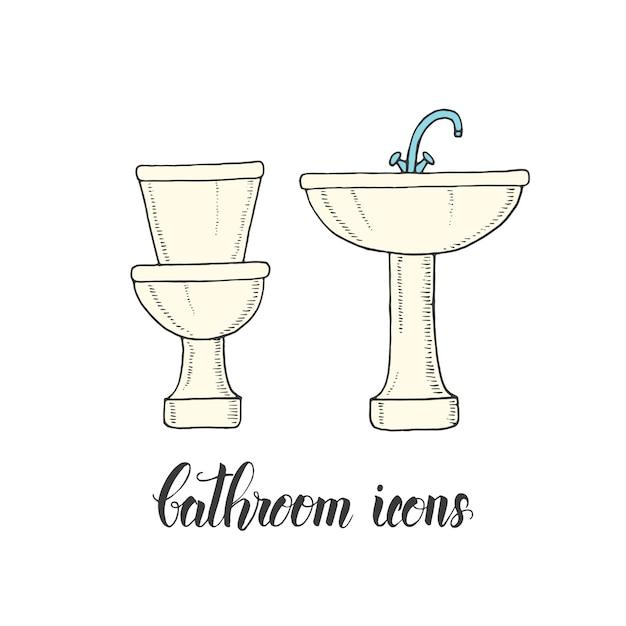Lavabo e ciotola della toilette disegnati a mano d'annata in uno stile di schizzo. Vettore Premium