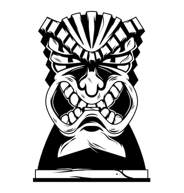 Illustrazione monocromatica di maschera tiki arrabbiata tribale delle hawaii dell'annata. Vettore Premium