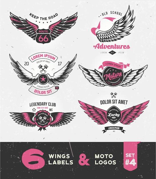 Etichette d'epoca, distintivi, testo ed elementi di design con le ali. Vettore Premium