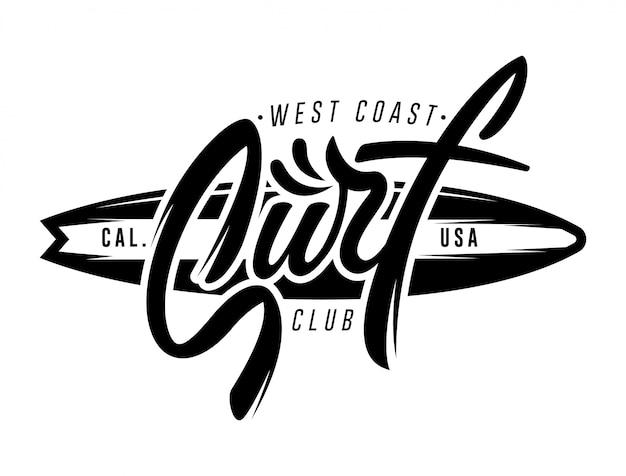 Scritte vintage surf logo, emblema, badge, etichetta. illustrazione grafica maglietta da surf design. Vettore Premium