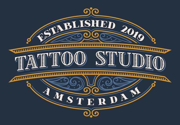 Lettering vintage per tattoo studio su sfondo scuro. tutti gli elementi e il testo sono in gruppi separati Vettore Premium