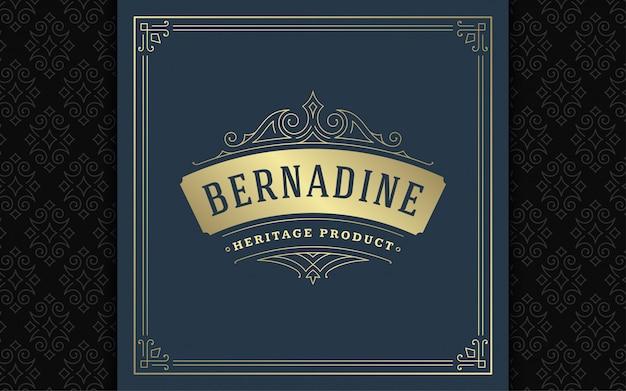 Logo vintage elegante svolazzi linea arte ornamenti aggraziati modello stile vittoriano Vettore Premium