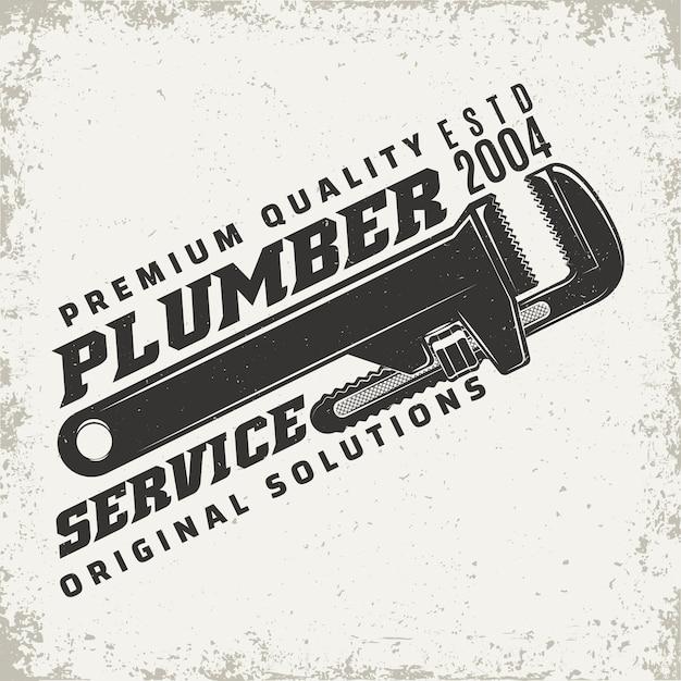 Grafica del logo vintage, timbro stampato, emblema della tipografia dell'idraulico Vettore Premium