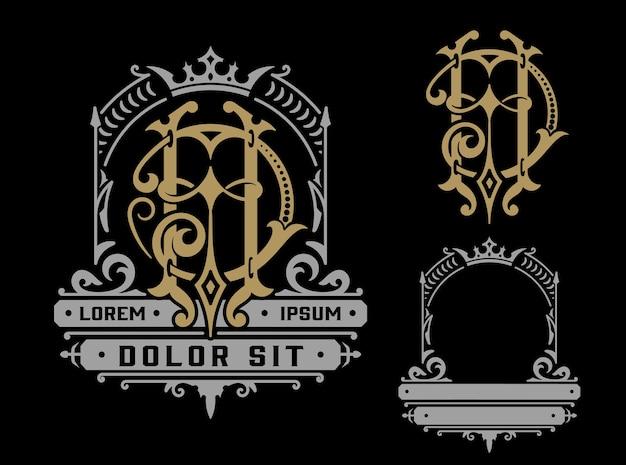 Modello di logo vintage con monogramma, identità aziendale. Vettore Premium