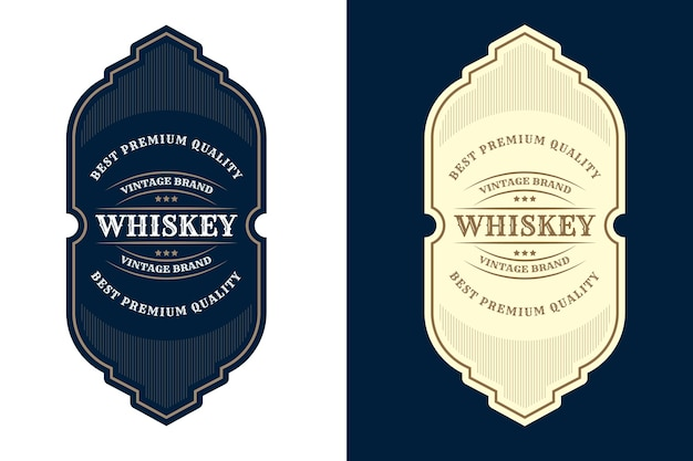 Etichetta con logo di cornici di lusso vintage per etichette di bottiglie di alcol e bevande di whisky di birra premium Vettore Premium