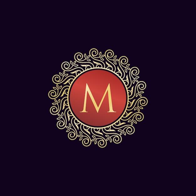 Logo di lusso vintage lettera m collection design Vettore Premium