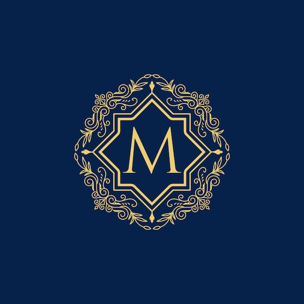 Logo di lusso vintage lettera m collection design Vettore Premium