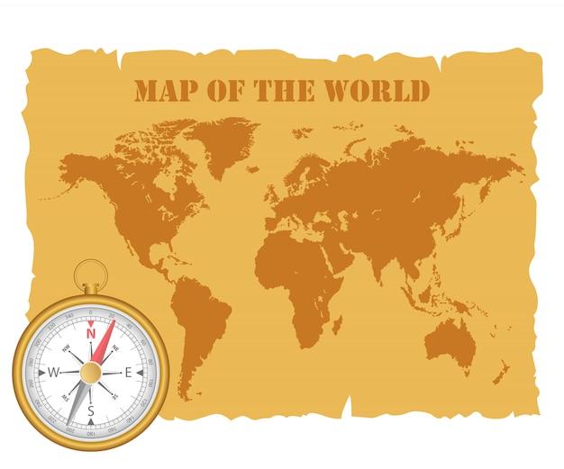 Mappa del mondo vintage e bussola magnetica. illustrazione. Vettore Premium