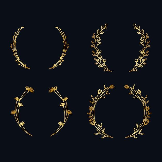 Collezione vintage ghirlanda dorata metallizzata Vettore Premium
