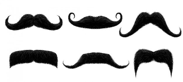 Baffi vintage. baffi retrò divertenti, baffi finti e illustrazione isolata baffi capelli ricci Vettore Premium