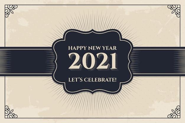 Sfondo vintage nuovo anno 2021 Vettore Premium