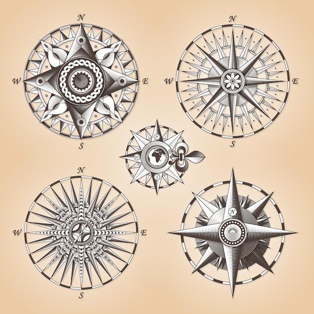 Rosa dei venti nautica antica antica d'annata Vettore Premium