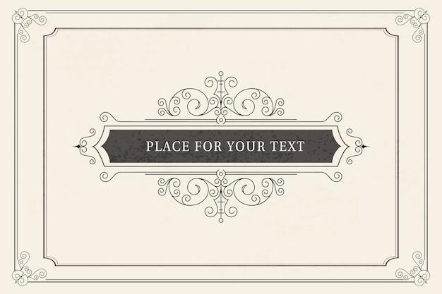 Modello di biglietto di auguri ornamento vintage. inviti di nozze retrò, pubblicità o altri design e luogo per il testo. fiorisce il telaio. Vettore Premium