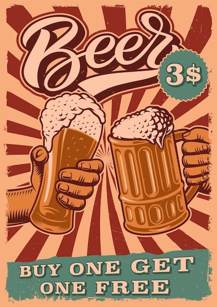 Poster vintage per tema birra con persone tintinnano bicchieri Vettore Premium