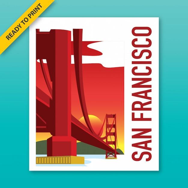 Poster vintage della vista del golden gate bridge dal sito storico nazionale fort point, fortezza della guerra civile nel pomeriggio, stile polaroid film. Vettore Premium