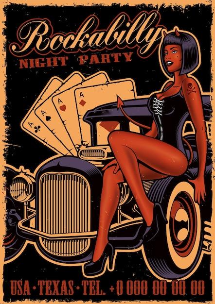 Poster vintage con diavolo ragazza sull'auto d'epoca su sfondo scuro. modello di volantino in stile rockabilly. Vettore Premium