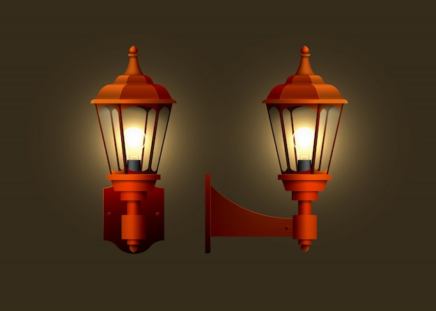 Lampada elettrica da parete realistica vintage. Vettore Premium