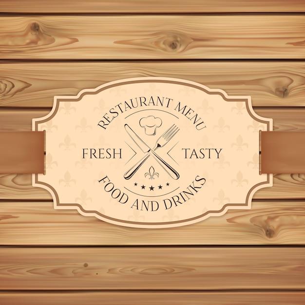 Modello di scheda del menu ristorante, bar o fast food vintage. banner con nastro su assi di legno. Vettore Premium