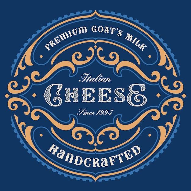 Un'etichetta di formaggio rotonda vintage, questo disegno può essere utilizzato come modello per un pacchetto. Vettore Premium