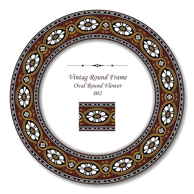 Cornice rotonda vintage di fiore rotondo ovale marrone Vettore Premium