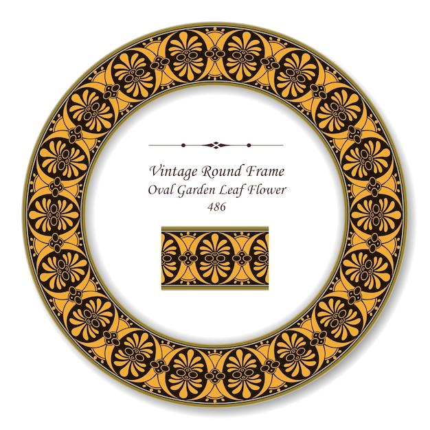 Cornice rotonda vintage retrò di fiore foglia giardino ovale Vettore Premium