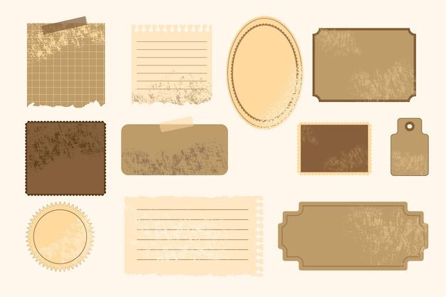 Collezione di carta scrapbook vintage Vettore Premium