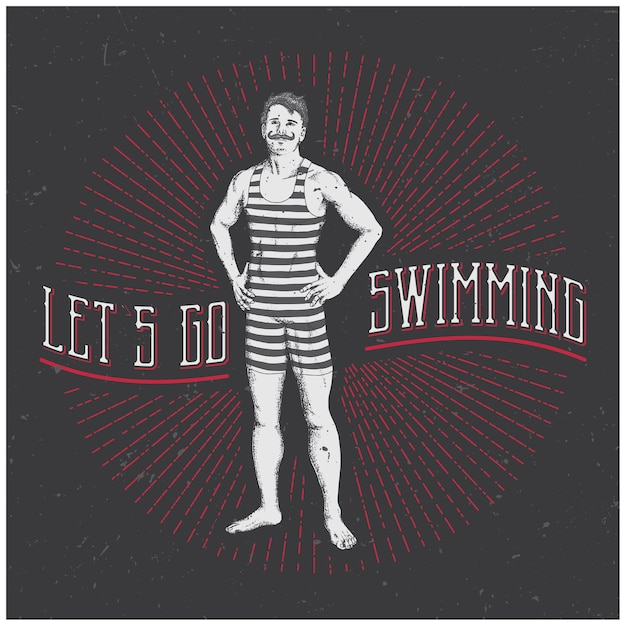Poster vintage uomo sportivo Vettore Premium