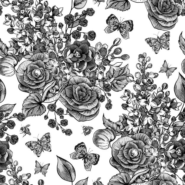 Modello senza cuciture primavera vintage con fiori che sbocciano di begonia, lilla Vettore Premium
