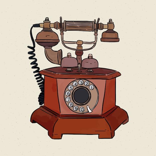 Telefono vintage, schizzo a mano. Vettore Premium