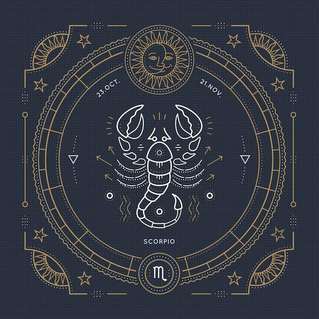 Etichetta segno zodiacale scorpione vintage linea sottile. simbolo astrologico retrò, elemento mistico, geometria sacra, emblema, logo. illustrazione di contorno del colpo. Vettore Premium