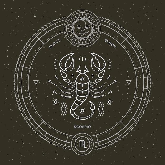 Etichetta segno zodiacale scorpione vintage linea sottile. simbolo astrologico vettoriale retrò, mistica, elemento di geometria sacra, emblema, logo. illustrazione di contorno del colpo. Vettore Premium