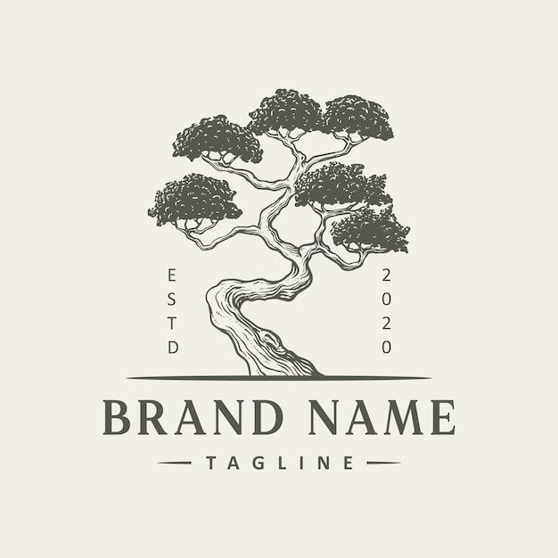 Design del logo albero vintage Vettore Premium