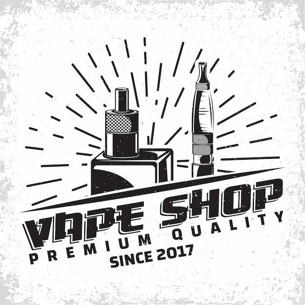 Design del logo vintage vape lounge, emblema del club o della casa di vape, emblema di tipografia monocromatica, francobolli stampati con grange rimovibile facile, vettore Vettore Premium