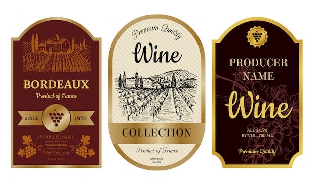Etichette di vini vintage. distintivi di alcol con le immagini della collezione di etichette bordeaux villaggio bordeaux vigneto Vettore Premium