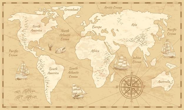 Mappa del mondo vintage. mappa di carta dell'antichità del mondo antico con il vecchio fondo del globo di navigazione del mare dell'oceano dei continenti Vettore Premium