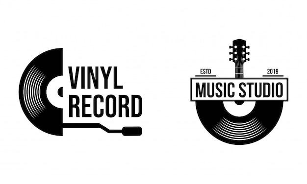 Modello di logo del disco in vinile. icona della musica o emblema. Vettore Premium