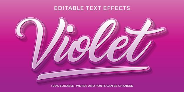 Effetto di testo modificabile in stile 3d viola Vettore Premium